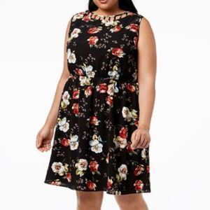 NWT Monteau Floral Caged-Neck Fit & Flare Dress 3X